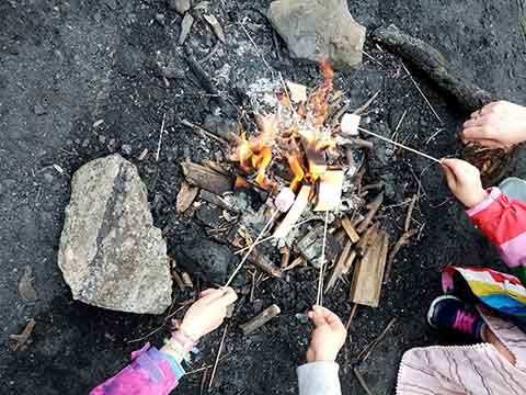 Kids at camp cooking marsh mellows over a fire outside.